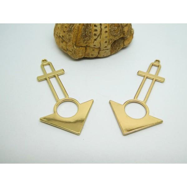 2 Pendentifs géométriques forme triangle 50*25mm doré, breloques graphiques or - Photo n°1