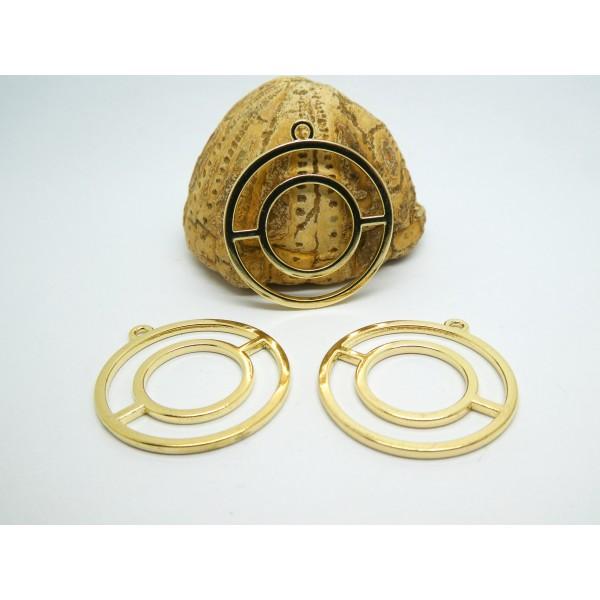 4 Pendentifs géométriques forme ronde 31*28mm doré, breloques rondes graphiques or - Photo n°1