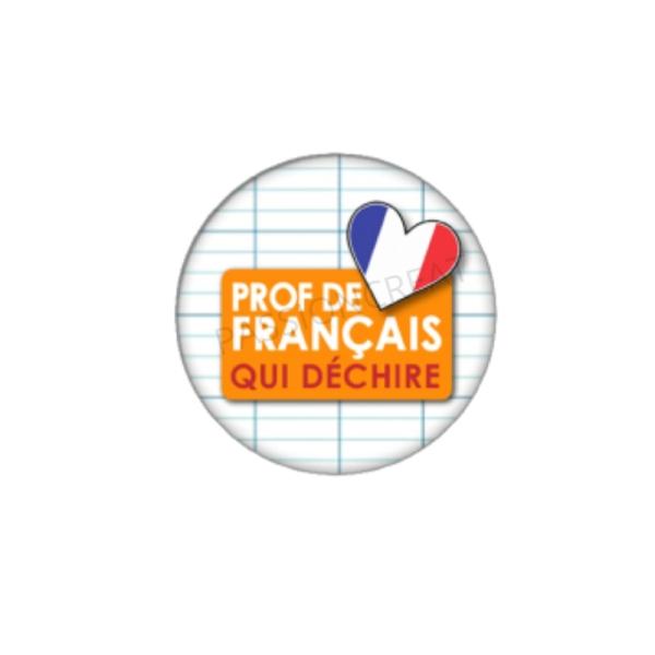 Prof de Français qui Déchire 2 Cabochons 25 mm - Photo n°1