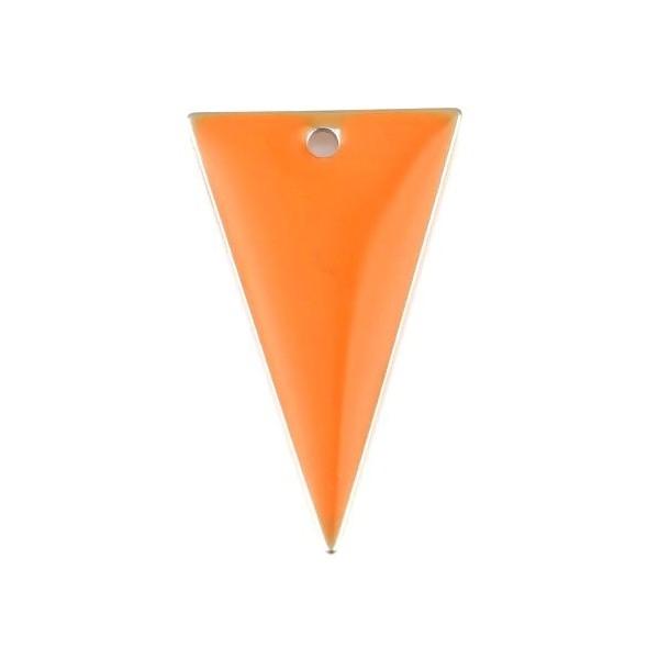 PS11667948 PAX 5 sequins résine style émaillés Triangle Orange 22 par 13mm sur une base en métal do - Photo n°1