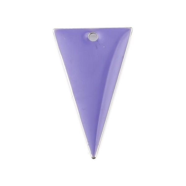 PS11667945 PAX 5 sequins résine style émaillés Triangle Violet Clair 22 par 13mm sur une base en mé - Photo n°1