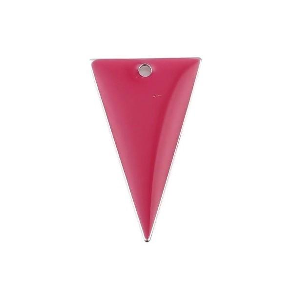 PS11667954 PAX 5 sequins résine style émaillés Triangle Rose Grenat 22 par 13mm sur une base en mét - Photo n°1