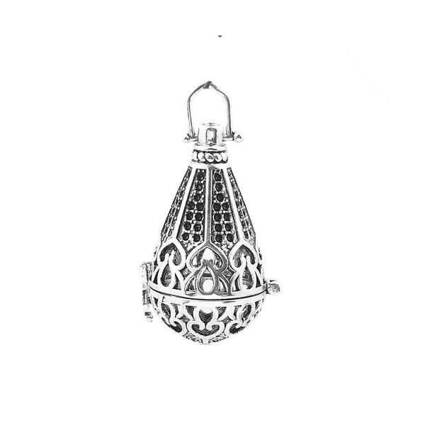 S1169998BIS Lot 1 Pendentif Cage pour Bola de grossesse 16mm Cone Argent Antique - Photo n°1