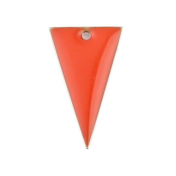 PS11667942 PAX 5 sequins résine style émaillés Triangle Orange Foncé 22 par 13mm sur une base en mé - Photo n°1