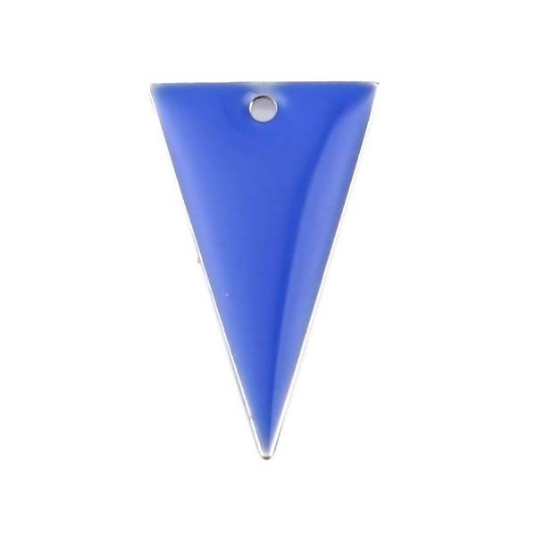 PS11667941 PAX 5 sequins résine style émaillés Triangle Bleu Roi 22 par 13mm sur une base en métal - Photo n°1