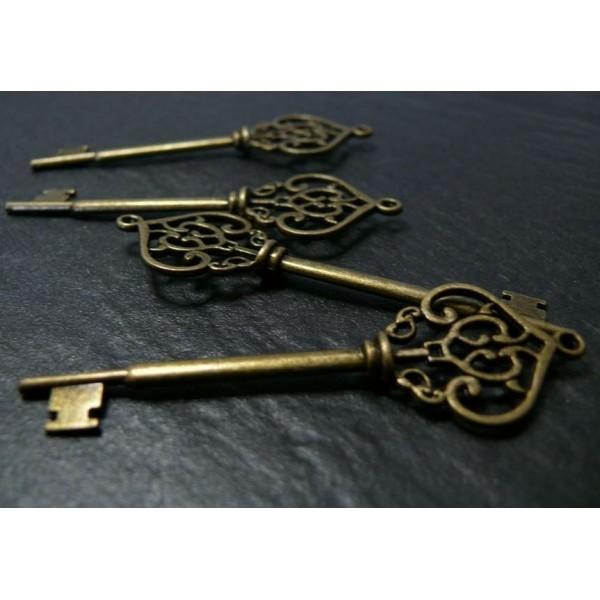 Lot de 10 pendentifs grande clé métal coloris Bronze ref. A13548 - Photo n°1