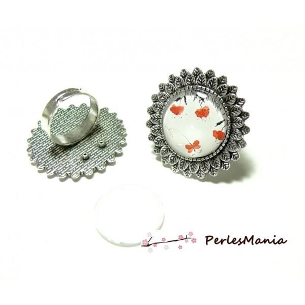 2 pièces: 1 bague ARTY ref160 qualité 20mm Vieil Argent et 1 cabochon - Photo n°1