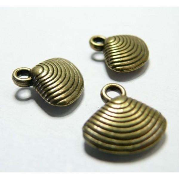 1 piece bronze pendentif coquillage 3D - Photo n°1