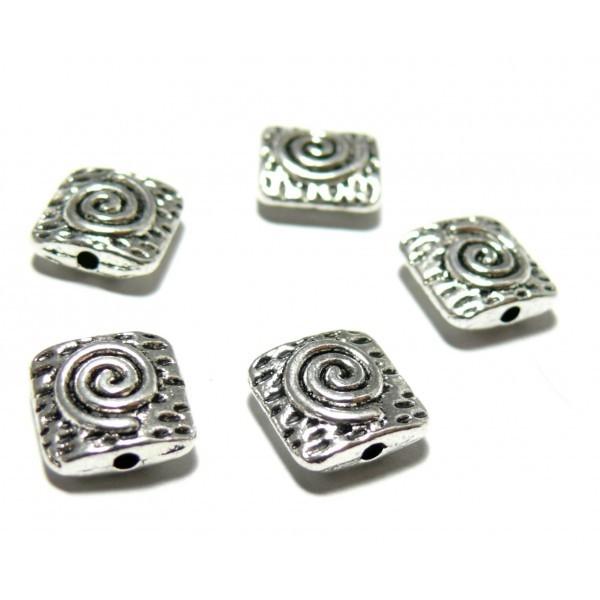 PS11105701 PAX 20 perles intercalaires Carre 10mm martelé spirale metal couleur Argent Antique - Photo n°1