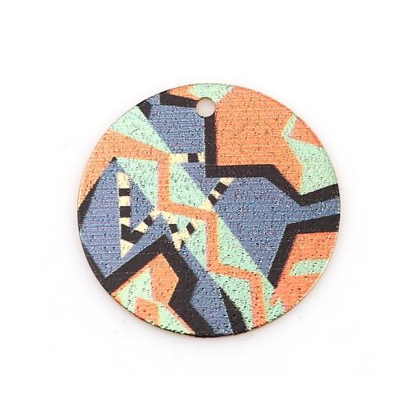 PS110118217 PAX 5 pendentifs breloques stardust Ronde 20mm Géométrique Cuivre Coloris Doré - Photo n°1