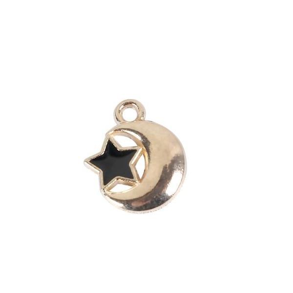 PS110099324 PAX 10 pendentifs breloque Etoile et Lune 14mm metal couleur Doré - Photo n°1