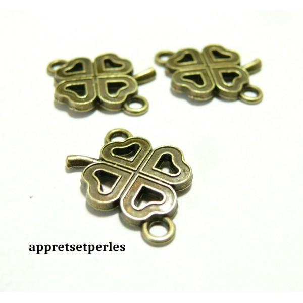 Apprêt bijoux 10 magnifiques trèfles ref 191 Bronze - Photo n°1