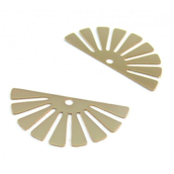 C10205 Lot de 4 Estampes pendentif filigrane demi Soleil Eventail Doré 24 par 12mm - Photo n°1