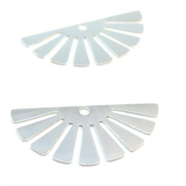 C10205 Lot de 4 Estampes pendentif filigrane demi Soleil Eventail Argent Vif 24 par 12mm - Photo n°1
