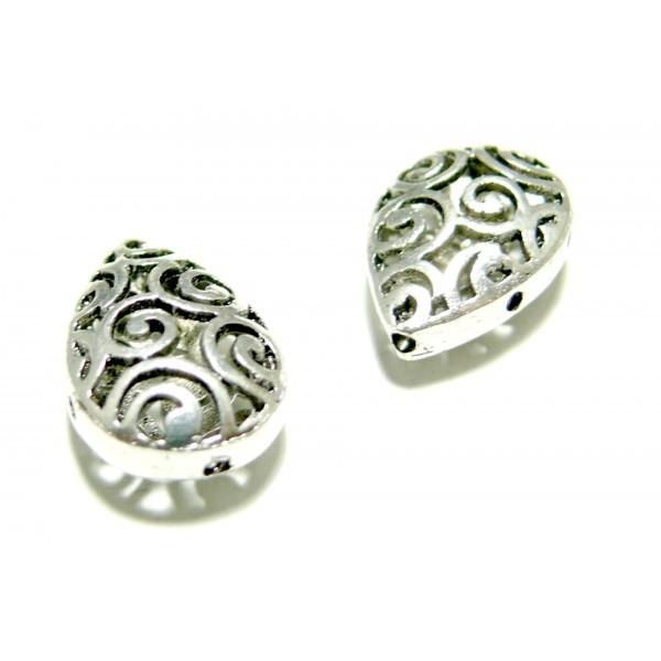 Lot de 4 pendentifs perles intercalaires Goutte Arabesque métal coloris Argent Antique ref P121 - Photo n°1