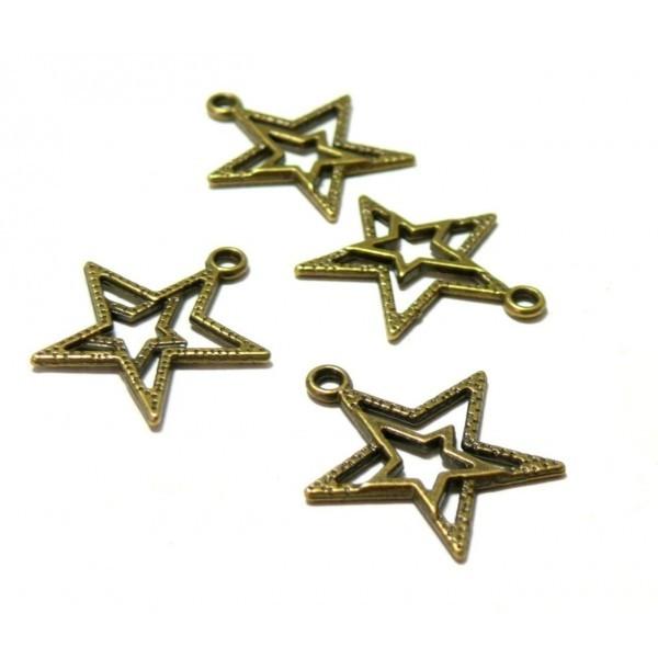 Lot de 20 pendentifs double ETOILE métal coloris Bronze PK08T fournitures pour bijoux - Photo n°1