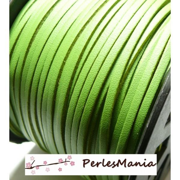PG001511 Lot de 5 mètres de cordon en suédine aspect cuir VERT PRINTEMPS - Photo n°1