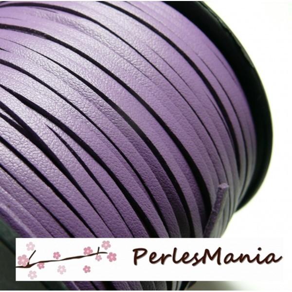PG001512 Lot de 5 mètres de cordon en suédine aspect cuir Violet - Photo n°1