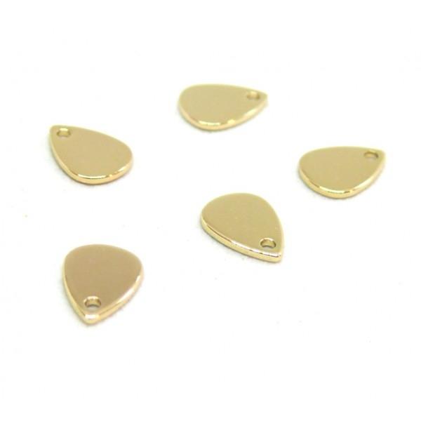 PS110254822 PAX 10 pendentifs mini Goutte 9mm cuivre couleur Doré 18K - Photo n°1