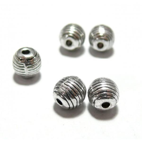 P6662 PAX de 20 perles intercalaires avec Rayures métal coloris Argent Antique - Photo n°1