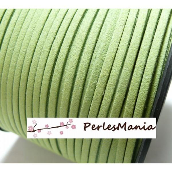 Lot de 5 mètres de cordon en suédine aspect daim vert pistache PG0135 - Photo n°1