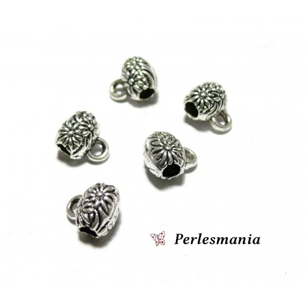 Apprêt bijoux :30 pendentifs bélières fleurs 2B5669 vieil argent - Photo n°1