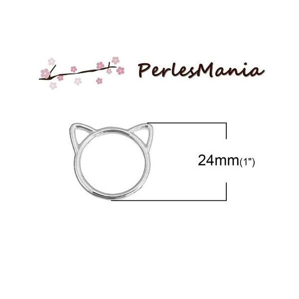 PAX 5 pendentifs, breloque connecteur CHAT 24mm metal ARGENT VIF S1189873 - Photo n°1