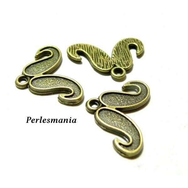 Lot de 15 pendentifs breloque moustache métal coloris Bronze 2D4910 - Photo n°1