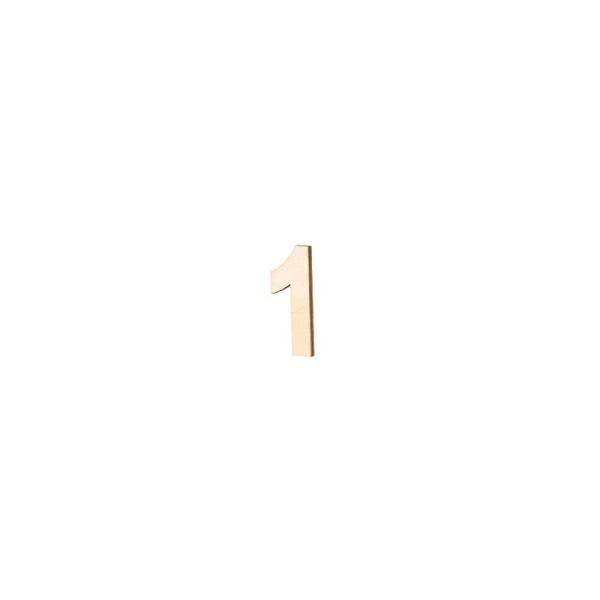 Chiffre ou lettre en bois contre-plaqué, haut. 8 cm x ép 5 mm, au choix - Photo n°1