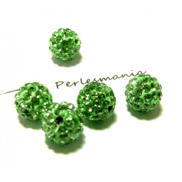 4 perles shambala Ronde 10mm Qualité Coloris Vert - Photo n°1