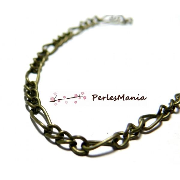 PCHSM028Y PAX 5 mètres Chaine maille Figaro métal coloris Bronze 3 par 6.5 mm - Photo n°1