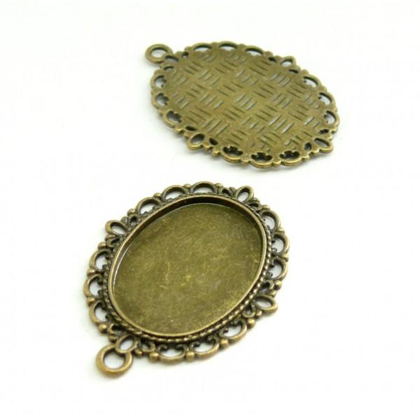 10 Supports de pendentif retro 18 par 25 H15257 métal coloris Bronze pour création de bijoux - Photo n°1