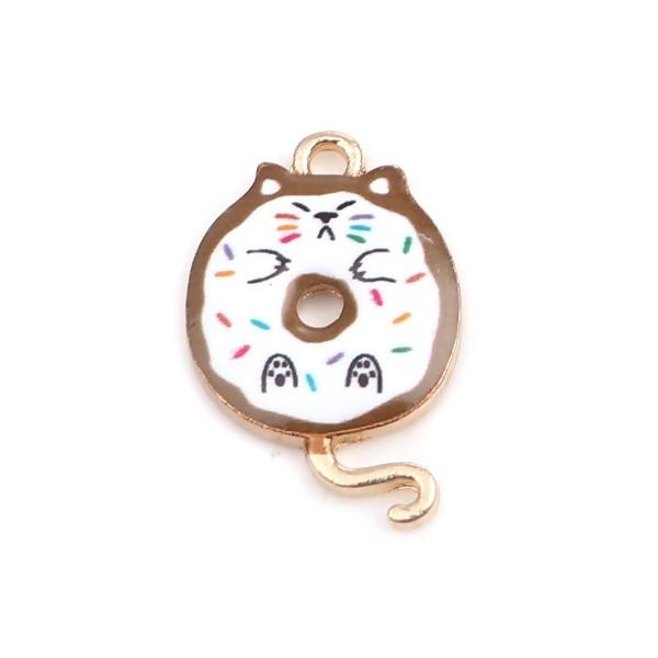 PS110253425 PAX 5 pendentifs breloques Chat donuts résine emaillé 20 mm métal Doré - Photo n°1