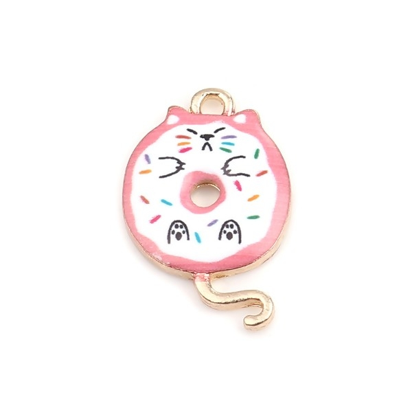 PS110253427 PAX 5 pendentifs breloques Chat donuts résine emaillé 20 mm métal Doré - Photo n°1