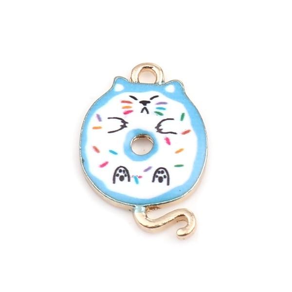 PS110253423 PAX 5 pendentifs breloques Chat donuts résine emaillé 20 mm métal Doré - Photo n°1
