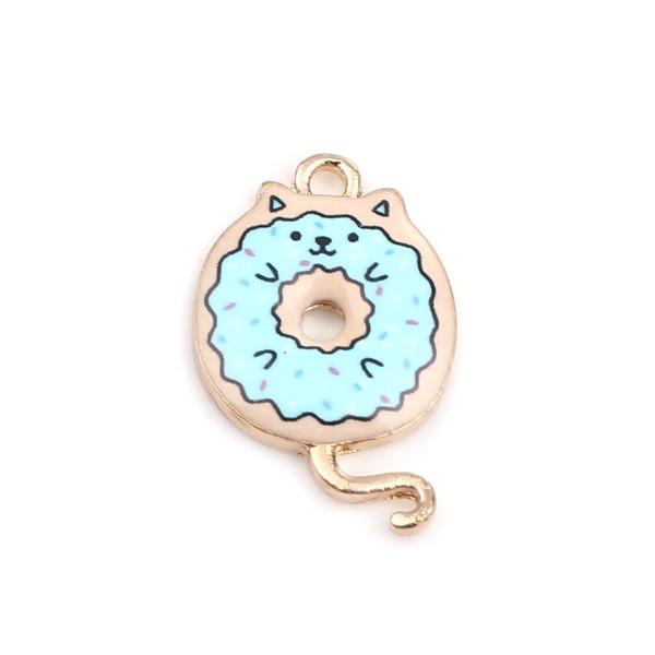 PS110253424 PAX 5 pendentifs breloques Chat donuts résine emaillé 20 mm métal Doré - Photo n°1