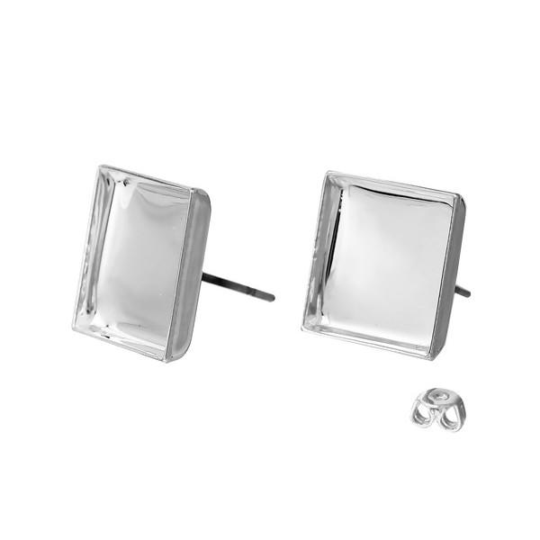 S1172498 PAX 10 Supports de Boucle d'oreille puce CARRE 12mm couleur Argent Vif avec embouts pousso - Photo n°1