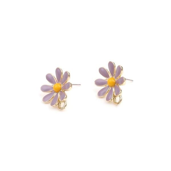 PS110252747 PAX 4 Supports de Boucle d'oreille puce Fleurs style emaillé Violet sur support doré - Photo n°1