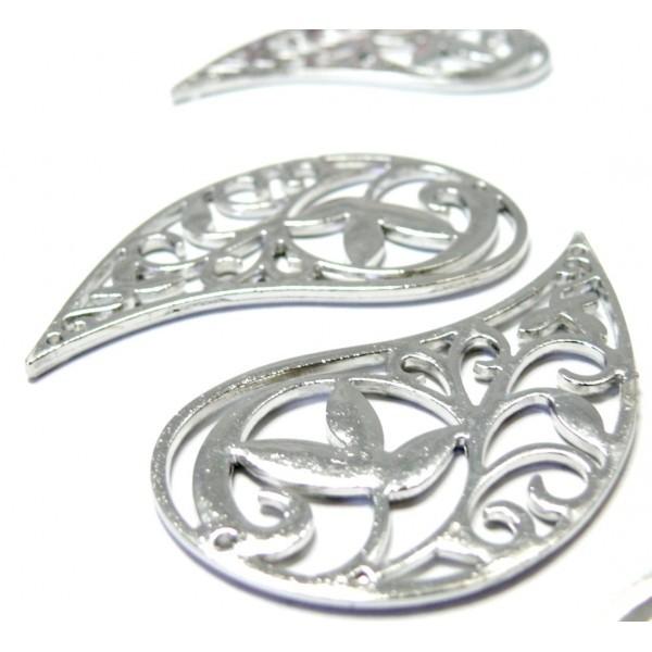 Lot de 4 Grands pendentif Goutte Arabesque métal coloris Argent Platine G144 - Photo n°1
