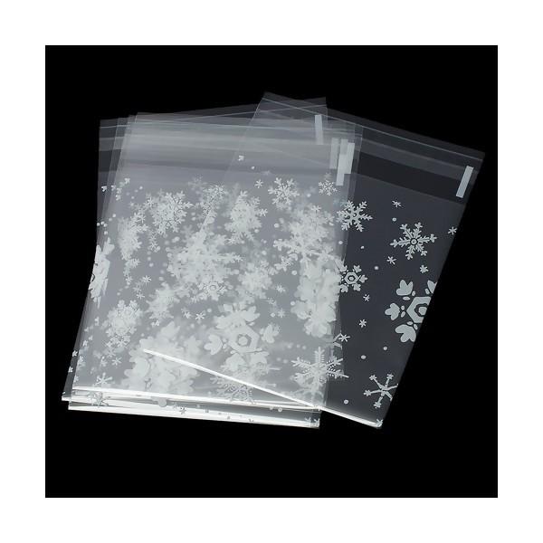 S1169932 PAX de 100 Sachets Plastiques FLOCONS, Emballage Cadeau - Photo n°1