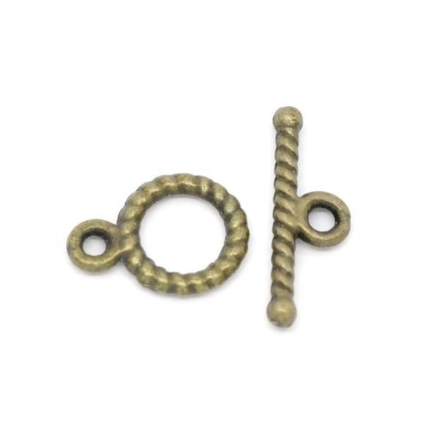 SLot de 10 sets fermoirs Toggle Rond ETHNIQUE travaillés métal coloris Bronze ref 40 - Photo n°1