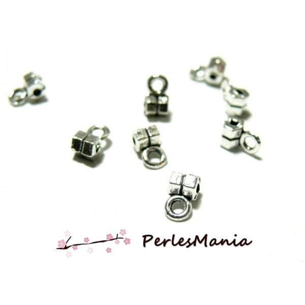 Lot de 100 pendentifs MINI bélières métal coloris Argent Antique 2N9127 - Photo n°1