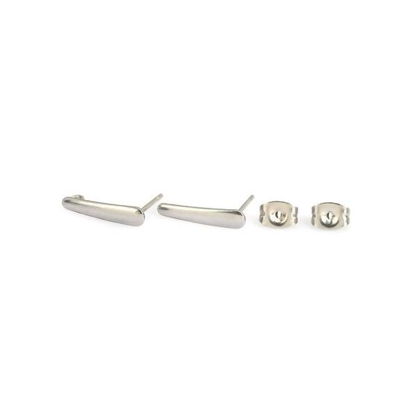 PS110154397 PAX 6 Boucles d'oreille Puce Rectangle Tige 15mm et embouts en Acier Inoxydable 304 col - Photo n°1
