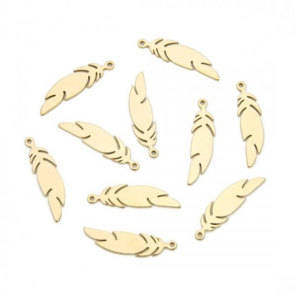 BU200503152619 PAX 4 Pendentifs Plumes 24 mm Doré en Acier Inoxydable 304 pour bijoux raffinés - Photo n°1