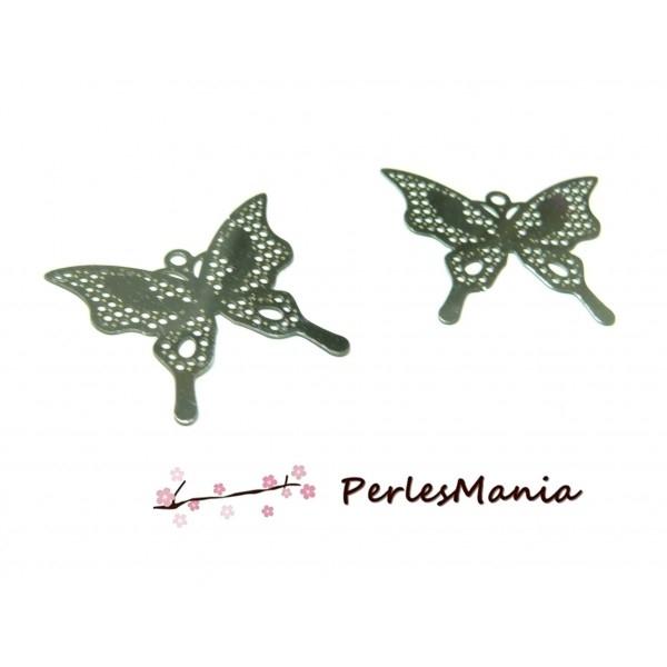 Lot de 10 Estampes Filigrane Papillons en ACIER INOXYDABLE 25X21mm ref27 - Photo n°1