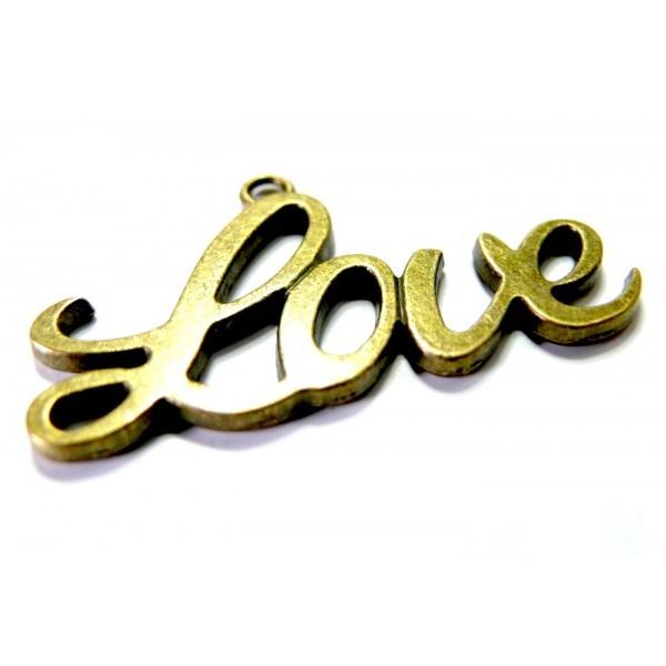 Lot de 4 breloques pendentifs Love Grand modèle métal coloris Bronze - Photo n°1