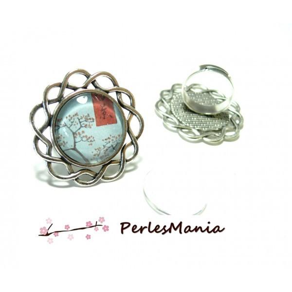 4 pièces: 2 supports de bague ARTY art deco ref122 métal coloris Argent Antique et 2 cabochons en v - Photo n°1