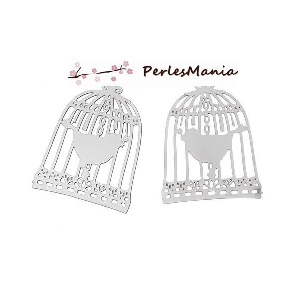 S1156941 PAX 20 Estampes Filigrane Cage Oiseau en Acier Inoxydable - Photo n°1