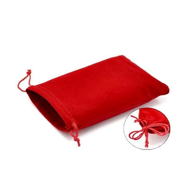 10 pochettes cadeaux velours Rectangle Rouge 9 par 12 cm - Photo n°1