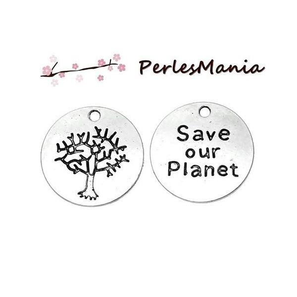 PS1163683 PAX 15 pendentifs breloques SAVE OUR PLANET metal couleur Argent Antique - Photo n°1